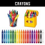 Färgpennasamling, tjugo regnbågefärger Arkivfoto