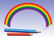 Färgpennor och regnbåge Royaltyfri Foto