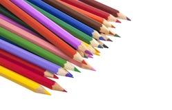 Färgpennor som isoleras på vit arkivbilder