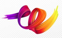 Färgpenseldragolja eller beståndsdel för design för akrylmålarfärg för presentation stock illustrationer