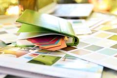 Färgprövkopior för designprojekt Arkivfoto