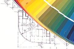 Färgprovkartor och plan Arkivfoton