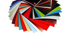 Färgprovkartor pläterade träflismaterialet Fotografering för Bildbyråer