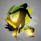 Färgpulver för konturfotbollspelaren plaskar Royaltyfria Foton