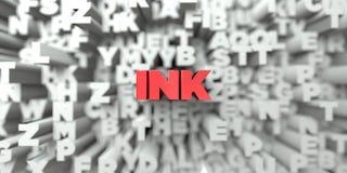 FÄRGPULVER - Röd text på typografibakgrund - 3D framförde fri materielbild för royalty vektor illustrationer