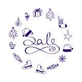 Färgpulverbokstäver - jul Sale med tecknad filmbeståndsdelar vektor illustrationer