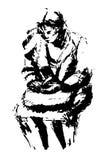 Färgpulverillustration av sammanträdekvinnan Arkivfoto