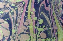 Färgpulvermarmortextur Ebru handgjord vågbakgrund Yttersida för Kraft papper Unik konstillustration Vätskemarmorera textur arkivbild