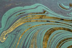 Färgpulvermarmortextur Ebru handgjord vågbakgrund Yttersida för Kraft papper Unik konstillustration Vätskemarmorera textur arkivfoto