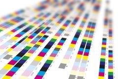 Färgreferensstänger av printingprocessen fotografering för bildbyråer