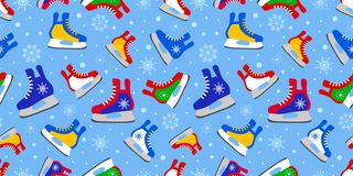 Färgrik is åker skridskor den sömlösa modellen Activitiy malltapet för vinter Gulligt barnsligt tryck Sportvektorillustration Col vektor illustrationer