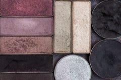färgrik ögonskugga gör upp paletter Arkivbilder
