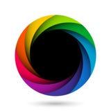 Färgrik öppning för kameraslutare Arkivfoto