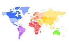 Färgrik översikt av världen Förenklad vektoröversikt med etiketter för landsnamn royaltyfri illustrationer