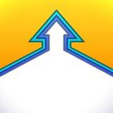 Färgrik övre pil med gult och blått papper Arkivbild