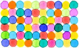 Färgrik abstrakt bakgrund för cirkelmodellvattenfärg Royaltyfria Foton