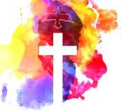Färgrik abstrakt bakgrund med korset Royaltyfria Bilder
