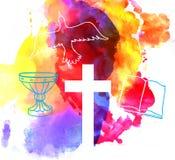 Färgrik abstrakt bakgrund med korset Arkivbild
