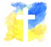 Färgrik abstrakt bakgrund med korset Arkivbilder