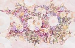 Färgrik abstrakt blom- krans med geometriska cirklar Royaltyfri Bild