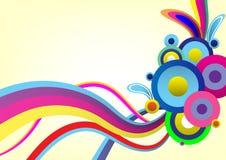 Färgrik abstrakt linje för vektorbakgrundsmålarfärg konstborste, kurva och cirkel vektor illustrationer