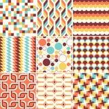 Färgrik abstrakt retro stilfull sömlös geometrisk kuddemodell royaltyfri illustrationer