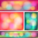 Färgrik abstrakt uppsättning för bokehbanersamling (vec Royaltyfri Bild