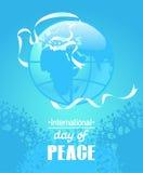 Färgrik affisch för internationell freddag Vitt band i form av en duvakontur stock illustrationer