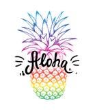 Färgrik ananas skissar isolerat på vit bakgrund Aloha handbokstäver, hawaiansk språkhälsningtypografi stock illustrationer
