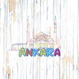 Färgrik Ankara teckning på träbakgrund vektor illustrationer
