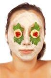 färgrik ansiktsbehandling isolerad maskering Arkivbild