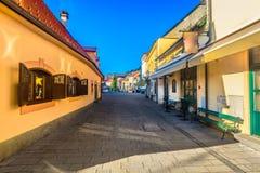 Färgrik arkitektur i den Samobor staden, Kroatien Royaltyfri Fotografi