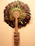 Färgrik aztec maskering i det nationella museet av antropologi, Mexico - stad fotografering för bildbyråer