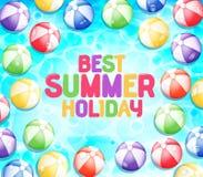 Färgrik bästa sommarferie med många strandbollar royaltyfri illustrationer