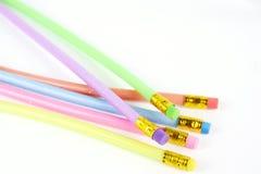 Färgrik böjlig blyertspenna med radergummit Arkivfoton