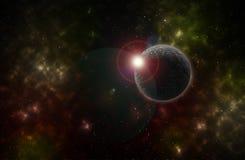 Färgrik bakgrund av ett stjärnafält och planet för djupt utrymme Fotografering för Bildbyråer