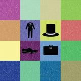 Färgrik bakgrund av gentlemandräkten Stock Illustrationer