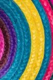 Färgrik bakgrund av vävt sugrör Arkivbilder