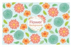 Färgrik bakgrund för design med hand drog blommor Arkivbild
