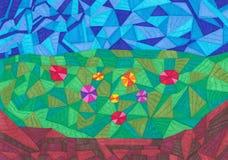 Färgrik bakgrund för geometriska former Arkivfoton