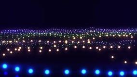 Färgrik bakgrund för rörelse för abstrakt begrepp för ögla för neonpartikelvågor VJ