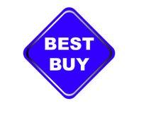 Färgrik bakgrund för vit för Best Buy rengöringsdukknapp Arkivbild