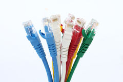 Färgrik bakgrund för vit för LAN för UTP Ethernetkablar Royaltyfri Fotografi