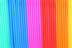 Färgrik bakgrund från dricka sugrör Fotografering för Bildbyråer