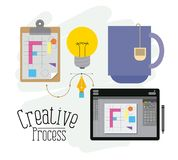 Färgrik bakgrund med beståndsdelar av den idérika processen och den grafiska tabellen för formgivare vektor illustrationer