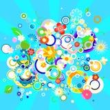 Färgrik bakgrund med blommor och cirklar Arkivfoto