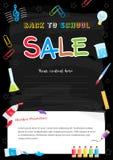 Färgrik baksida till skolaförsäljningsaffischen på svart tavlatema Arkivbilder