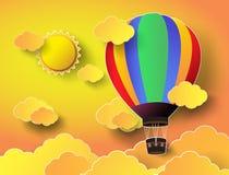 Färgrik ballong för varm luft med solnedgång Royaltyfri Fotografi