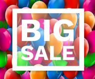 Färgrik ballongrabattram Det SALE begreppet för shoppar kommers för marknadslagerannonsering Marknadsrabatt, röd ballong bifokal vektor illustrationer