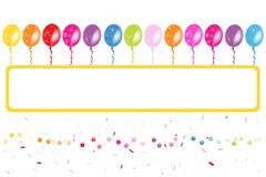 Färgrik ballonsram med konfettier Royaltyfria Bilder